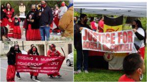 Photos from the Sacramento Prayer Walk. | Top left and right photos courtesy of Craig Lewis / Angela's March; Bottom left photo: Sacramento Native American Health Center